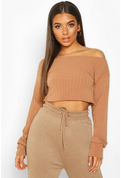 Dam Mocha Extreme Sleeve Off The Shoulder Rib Slouch Crop