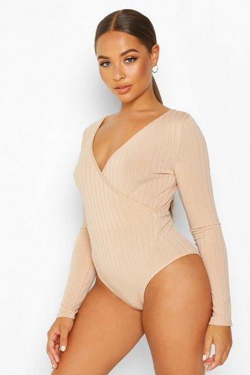 Womens Nude Cross Over Ribbed Bodysuit