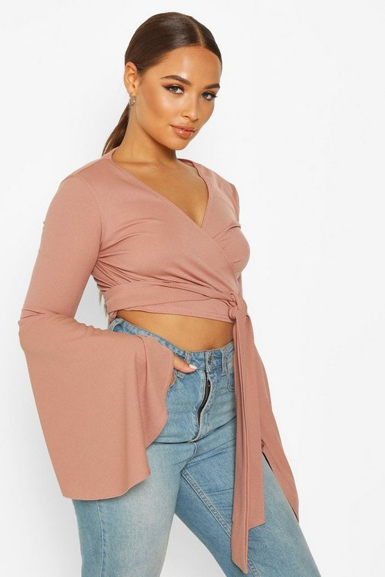 Womens Mauve Extreme Flared Sleeve Rib Tie Front Top