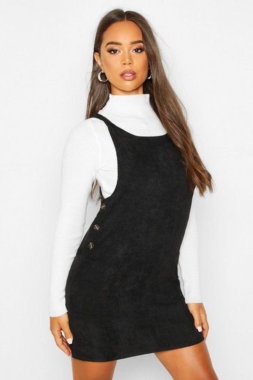 Womens Black Cord Button Detail Pocket Pinafore Dress