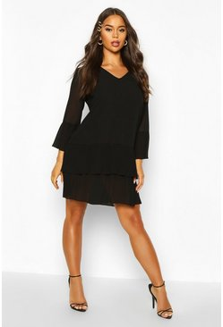Black Woven V Neck Pleated Hem Shift Dress