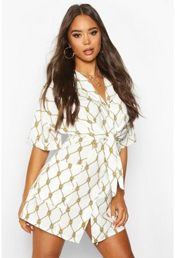 Ivory Woven Chain Print Tie Front Shift Dress