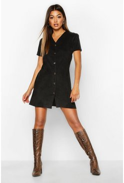Womens Black Cord Button Through Shift Dress