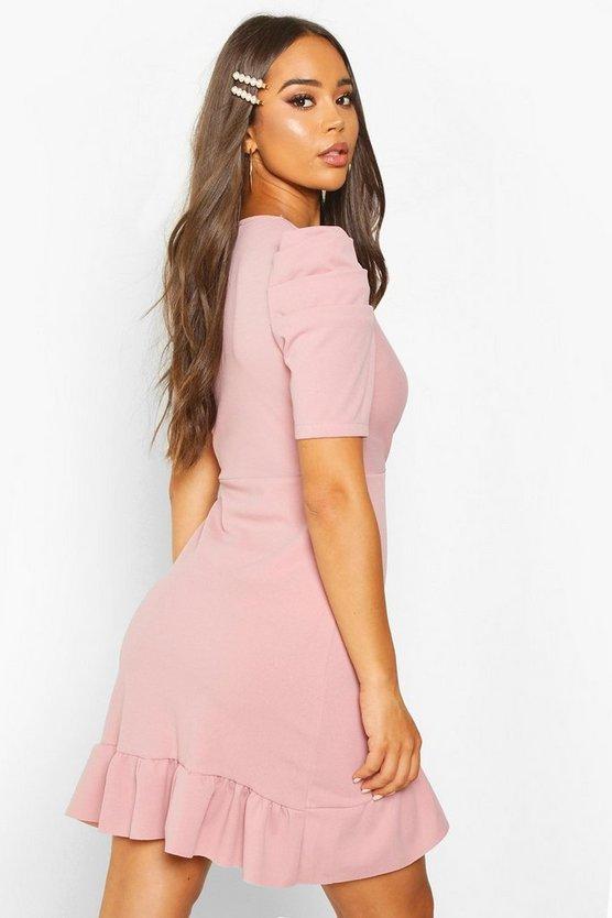 Puff Sleeve Wrap Ruffle Tea Dress