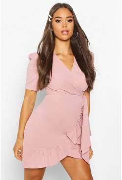 Womens Blush Puff Sleeve Wrap Ruffle Tea Dress