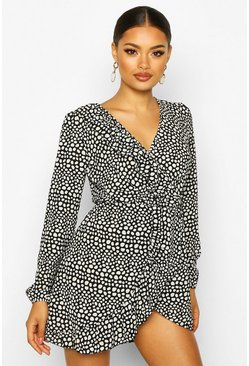 Womens Black Spot Print Ruffle Tea Dress