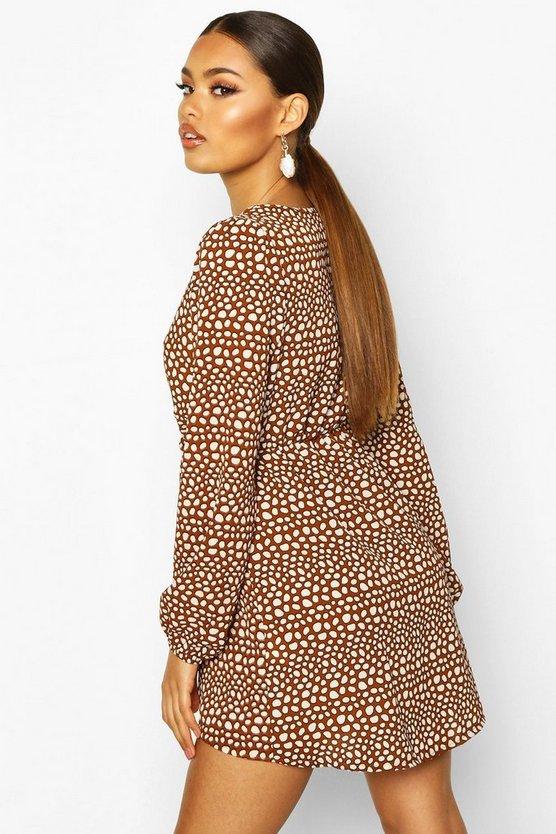 Spot Print Ruffle Tea Dress