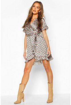 Sage Polka Dot Ruffle Belted Tea Dress