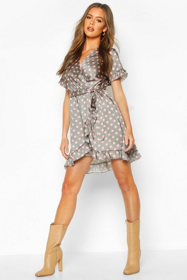 Womens Sage Polka Dot Ruffle Belted Tea Dress