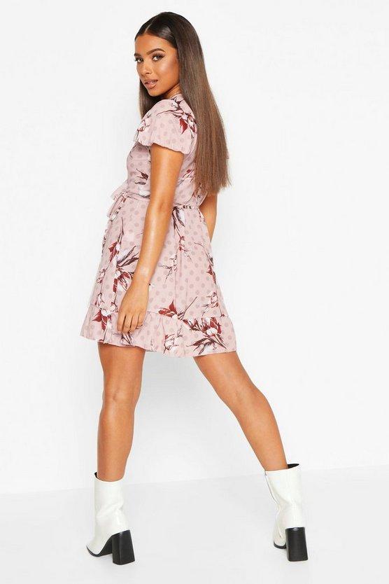 Geo Print Wrap Ruffle Mini Tea Dress