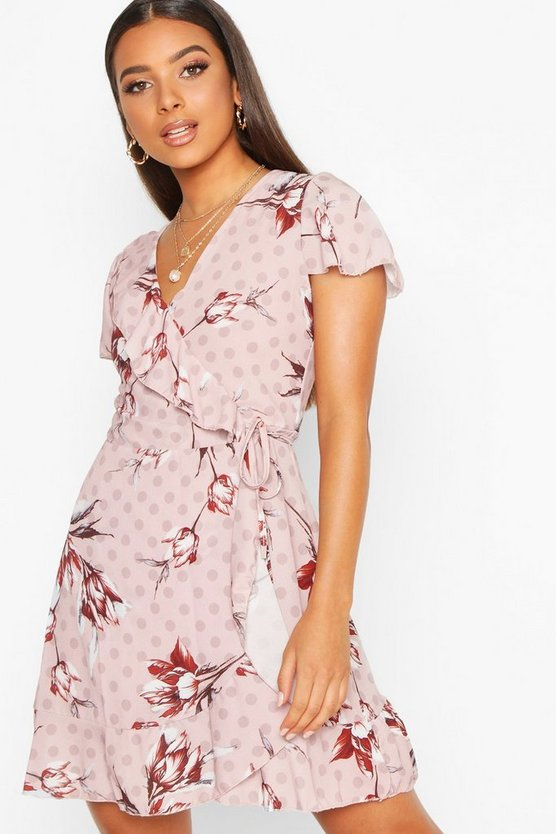 Womens Pink Geo Print Wrap Ruffle Mini Tea Dress