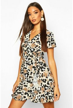 Brown Floral Leopard Ruffle Mini Tea Dress