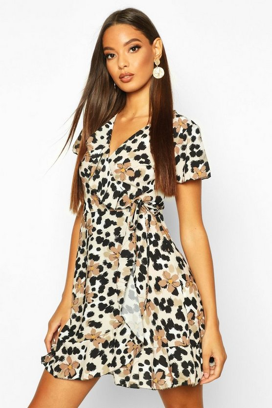 Womens Brown Floral Leopard Ruffle Mini Tea Dress