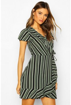 Khaki Stripe Wrap Ruffle Mini Tea Dress