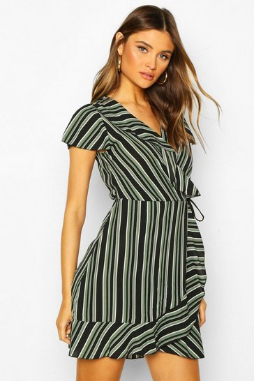 Womens Khaki Stripe Wrap Ruffle Mini Tea Dress