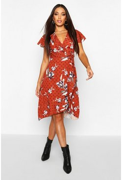 Womens Mustard Woven Floral Spot Mix Tea Dress Midi