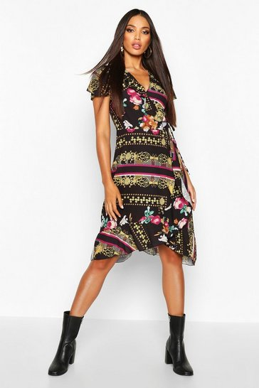 Womens Red Woven Floral Chain Midi Tea Dress