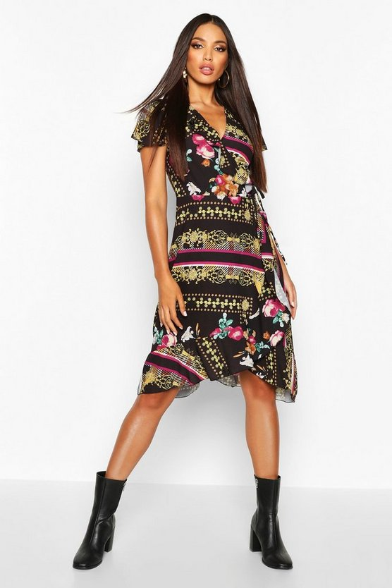 Woven Floral Chain Midi Tea Dress