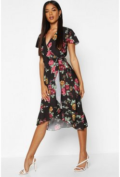 Black Woven Floral Midi Tea Dress