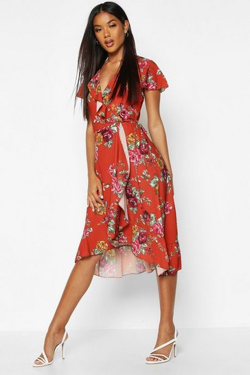 Womens Mustard Woven Floral Midi Tea Dress