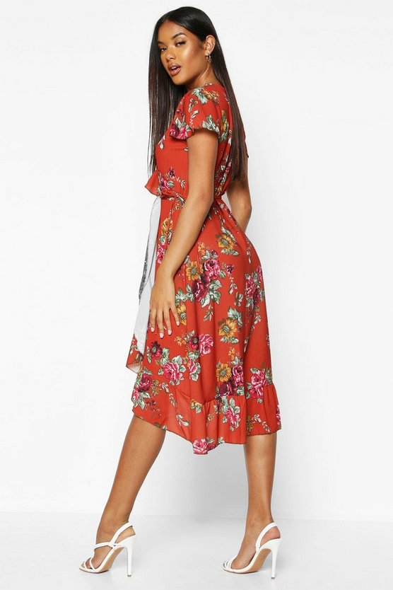 Woven Floral Midi Tea Dress