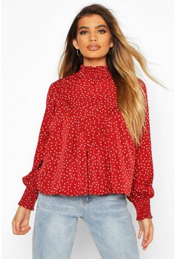 Berry High Neck Spot Print Swing Top