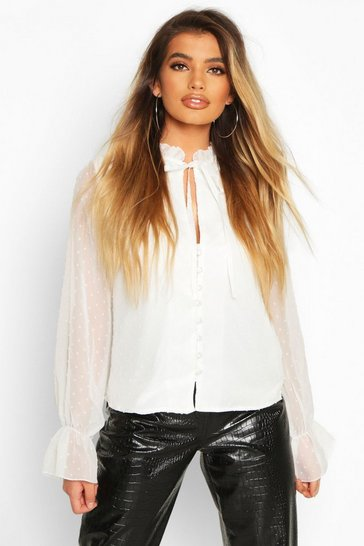 White Dobby Spot Ruffle Neck Top