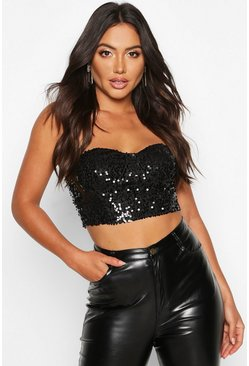 Womens Black Sequin Bustier