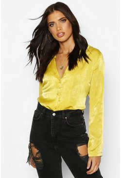 Womens Chartreuse Satin Shirt