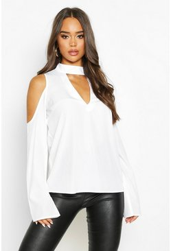 Womens White Choker Plunge Cold Shoulder Top
