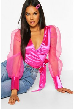Womens Pink Organza Puff Sleeve Wrap Top