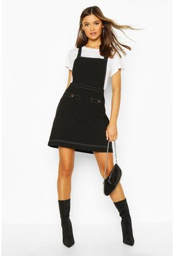 Womens Black Contrast Stitch Pocket Pinafore Dress