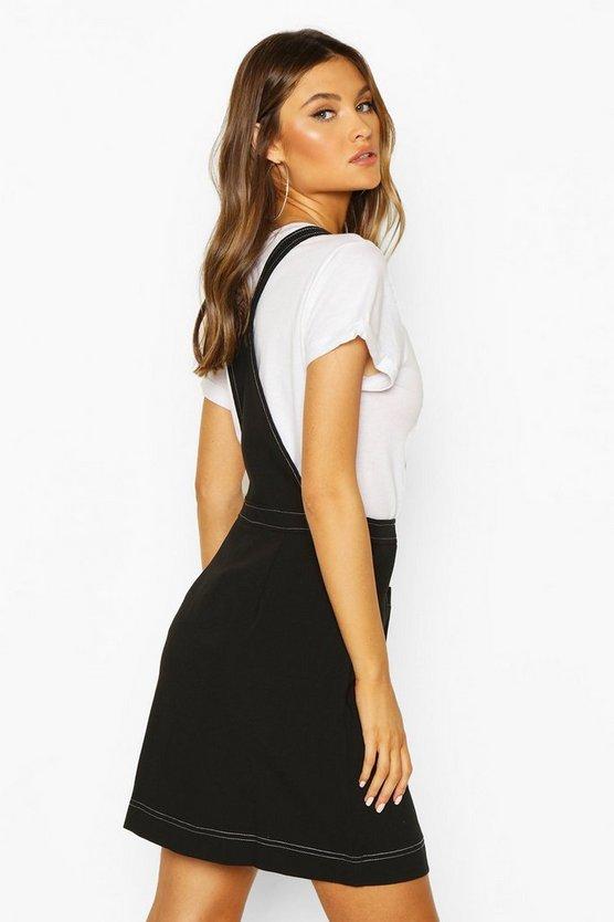 Contrast Stitch Pocket Pinafore Dress