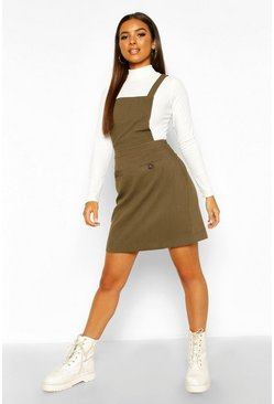 Womens Khaki Pocket Front Pinafore Dress