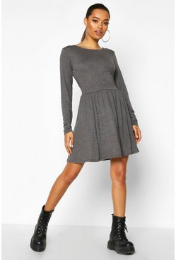 Charcoal Jersey Long Sleeve Gathered Skater Dress