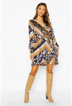 Mustard Woven Scarf Print Wrap Tie Shift Dress