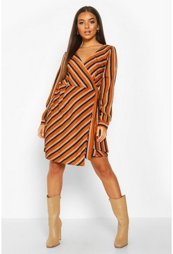 Womens Mustard Woven Stripe Wrap Mini Dress