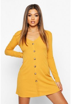 Womens Mustard V-Neck Button Through Shift Dress