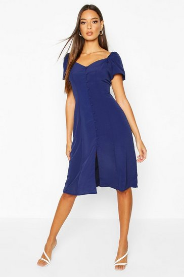 Womens Navy Woven Sweetheart Neck Self-Fabric Button Midi Dress