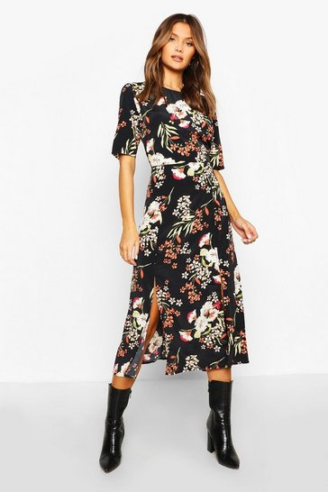 Womens Black Woven Floral Print Crew Neck Midi Dress