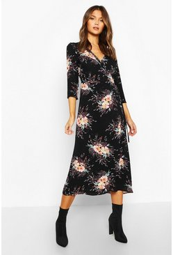 Womens Black Woven Floral Print Tie Side Wrap Midi Dress