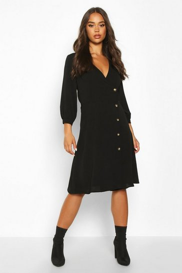 Womens Black Wrap Over Button Front Midi Dress