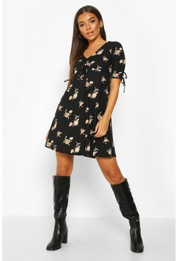 Womens Black Floral Print Rouched Tie Sleeve Swing Dress