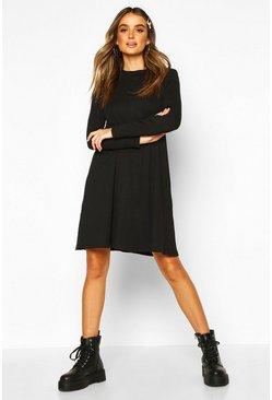 c8addb520ddce Cotton Blend Long Sleeve Swing Dress