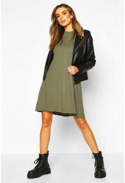 Womens Khaki Cotton Blend Long Sleeve Swing Dress