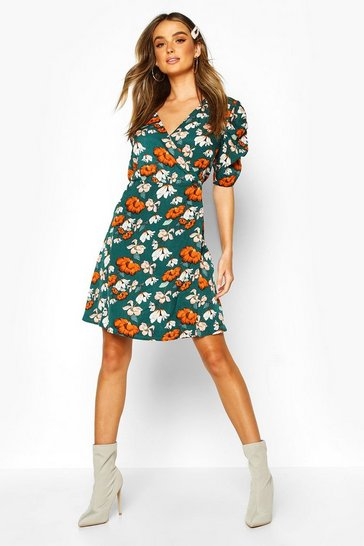 Womens Green Woven Floral Print Puff Sleeve Swing Dress