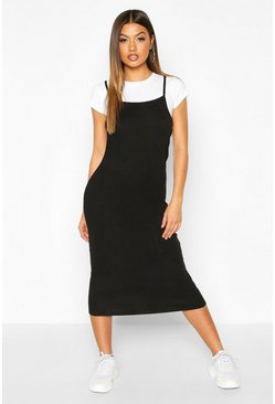 Black 2 In 1 T-Shirt Midi Slip Dress