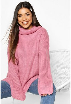 Dam Antique rose Roll Neck Oversized Jumper