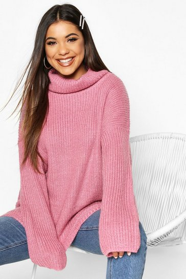 Womens Antique rose Roll Neck Oversized Jumper