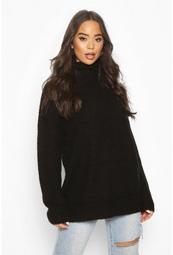 Black Roll Neck Oversized Jumper